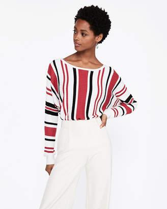 Express Striped Horizontal Ribbed Dolman Sweater
