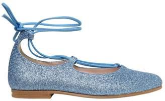 Il Gufo Glittered Leather Ballerina Flats