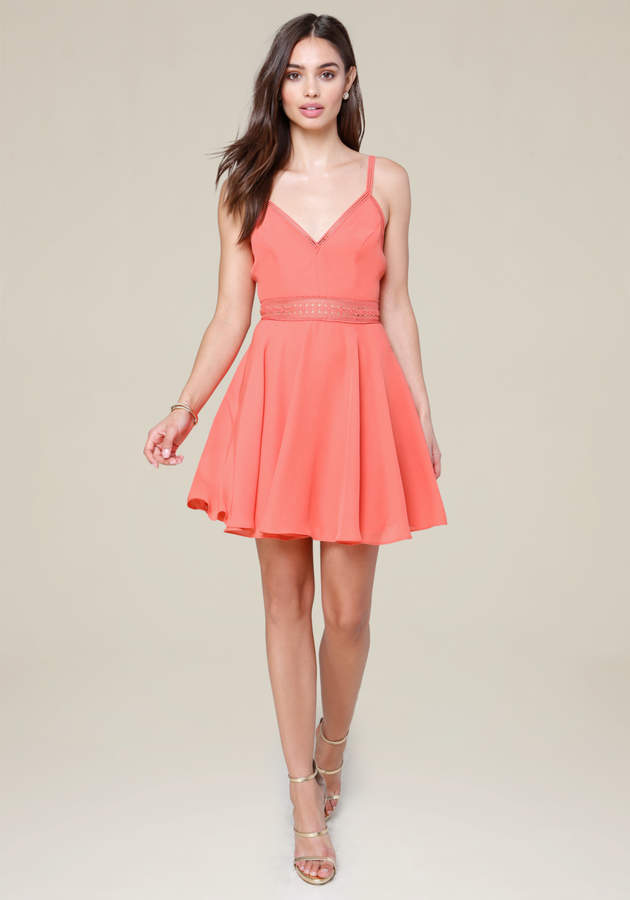 Lace Trim Flared Dress