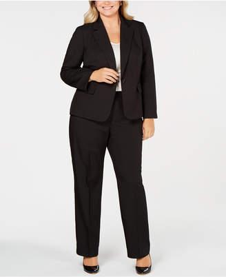 Le Suit Plus Size Shadow-Stripe Pantsuit