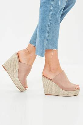 Missguided Womens Faux Suede Wedges - Nude