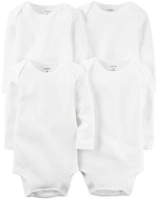 Carter's Little Baby Basics 4-Pk. Long Sleeve White Bodysuit - Baby Boys