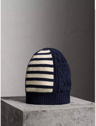Burberry Cable Knit Striped Wool Cashmere Blend Beanie