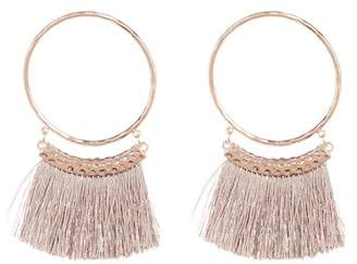 Shashi Sandra Fringe Trim Hammered Hoop Earrings