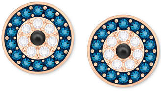 Swarovski Rose Gold-Tone Blue & Clear Pave Evil Eye Stud Earrings