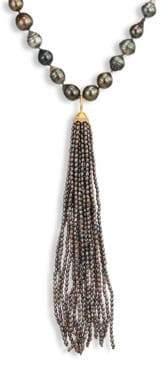 Jordan Alexander 2MM Grey Seed Pearl, Diamond& 18K Yellow Gold Tassel