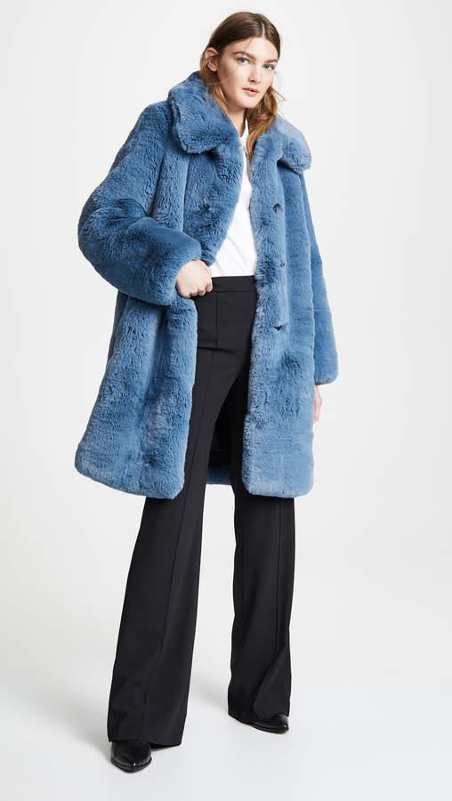 Plush Faux Fur Coat with Collar