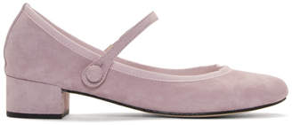 Repetto Purple Suede Rose Mary Jane Heels