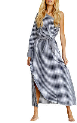 STYLEKEEPERS Unforgettable One-Shoulder Gingham Maxi Dress