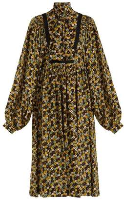 Rochas - Floral Print Silk Crepe De Chine Midi Dress - Womens - Brown Multi