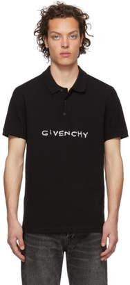 Givenchy Black Stitch Logo Polo