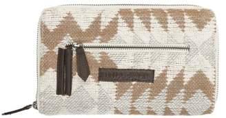 Ashton & Willow Creme White Southwestern Handbags Romy Signature Zip Wallet Cotton Pewter Hardware Textured Geometric Wallet