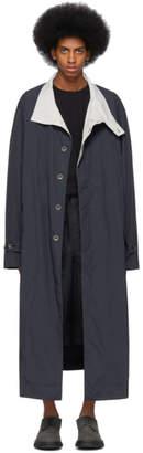 Issey Miyake Navy Nylon Taffeta Coat