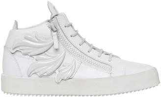 Giuseppe Zanotti Design Enamel Leaves Leather Mid Top Sneakers