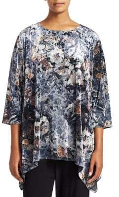 Caroline Rose Plus Mix It Up Foggy Floral Velvet Swing Tunic