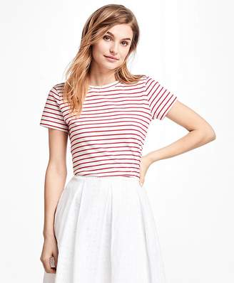 Textured-Stripe Stretch Cotton Jersey Tee Shirt $38 thestylecure.com