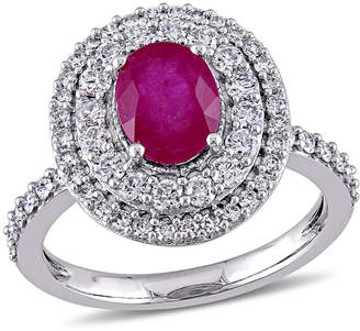 MODERN BRIDE Womens Red Lab-Created Ruby 14K Gold Engagement Ring