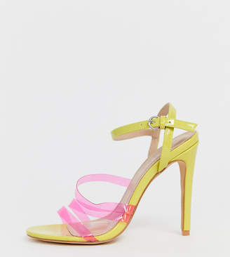 c4d8b31a23b clear Co Wren wide fit neon heeled sandals
