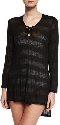 Luxe by Lisa Vogel Afterglow Striped Hoodie Coverup Tunic, Black $138 thestylecure.com