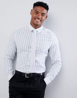 Asos DESIGN stretch slim smart shirt with stripe in white