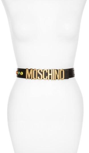 MoschinoWomen's Moschino Patti Logo Plate Leather Belt