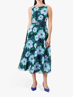 Hobbs Carly Midi Dress, Blue