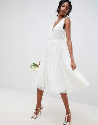 Asos Edition EDITION waterfall sequin midi wedding dress