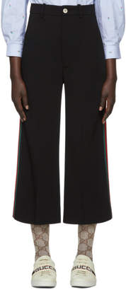 Gucci Black Web Cropped Flared Trousers