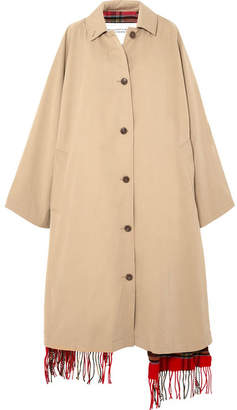 Vetements Oversized Reversible Cotton-gabardine And Tartan Wool Trench Coat - Beige