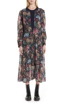 Junya Watanabe Knit Collar Floral Chiffon Dress