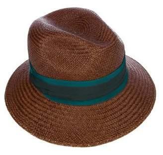 Lanvin Grosgrain Straw Fedora Hat