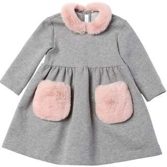 Il Gufo Cotton Sweatshirt Dress W/ Faux Fur