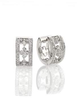 "Kwiat Jasmine Diamond& 18K White Gold Huggie Hoop Earrings/0.65"""
