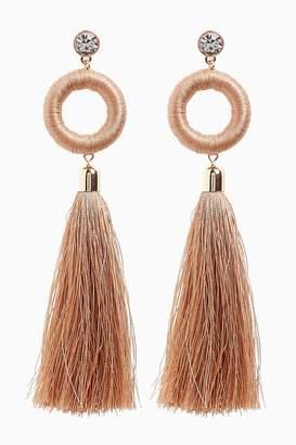 Next Womens Nude Statement Tassel Drop Earrings - Nude