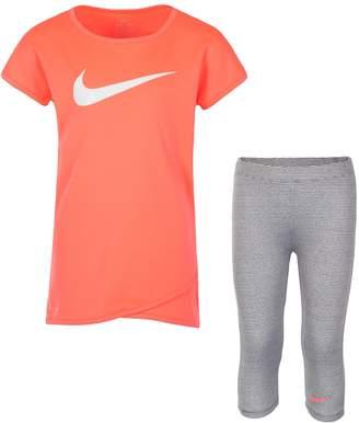 Nike Girls 4-6x Swoosh Graphic Tee & Striped Capri Leggings Set