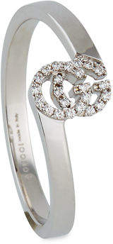 cc44b7d19 Gucci Running G Stacking Ring with Diamonds in 18K White Gold, Size 6.75