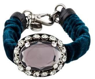 Miu Miu Crystal & Velvet Bracelet