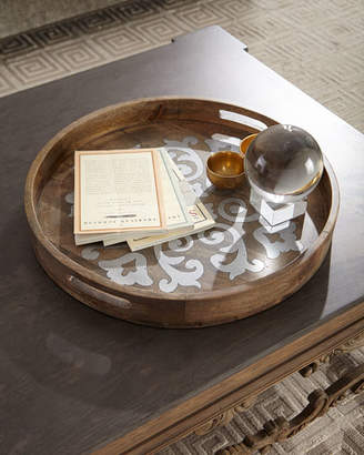 """GG Collection G G Collection Round Wood Tray w/ Metal Inlay, 24"""""""
