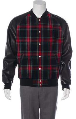 Gucci Leather-Trimmed Wool Tartan Bomber Jacket black Leather-Trimmed Wool Tartan Bomber Jacket