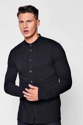 boohoo Muscle Fit Long Sleeve Grandad Jersey Shirt