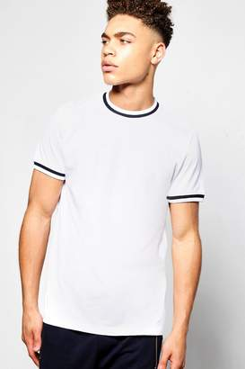 boohoo Crew Neck Contrast Rib T Shirt
