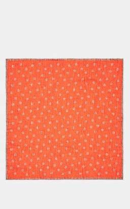 Eleventy Men's Reversible Wool-Cotton Pocket Square - Sand