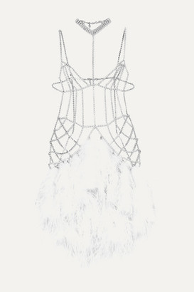 Alessandra Rich Silver-tone, Crystal And Feather Body Chain