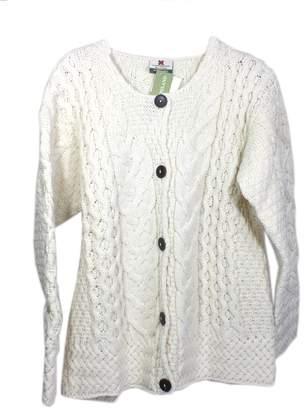 Carraigdonn Carraig Donn Ladies Cardigan Aran 100% Merino Wool White