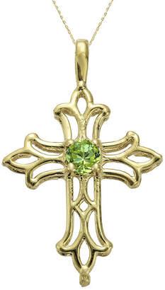 JCPenney FINE JEWELRY Genuine Peridot 10K Yellow Gold Cross Pendant Necklace