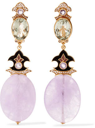 Papi Percossi Gold-plated And Enamel Multi-stone Clip Earrings - Pink