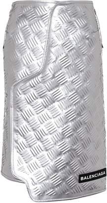 Balenciaga Embossed metallic leather skirt