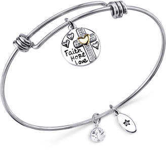 Unwritten Two-Tone Faith Disc Bangle Bracelet in Stainless Steel with Silver-Plate and Gold-Plate