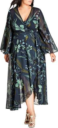 City Chic Moody Floral Maxi Wrap Dress