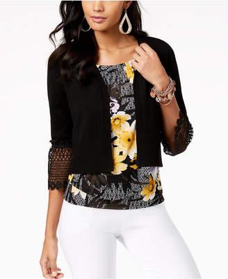 Thalia Sodi Cropped Crochet-Trim Cardigan, Created for Macy's